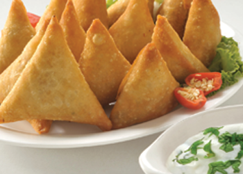 Mini Lamb Samosas with Mint and Cucumber Dip
